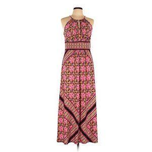 ROZ & ALI Pink Geo Printed Halter Maxi Dress sz 12